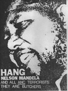 Affiche de l'UNI prônant la bonne entente économique avec l'Afrique du Sud 1985(